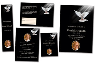 funeral stationery template dove