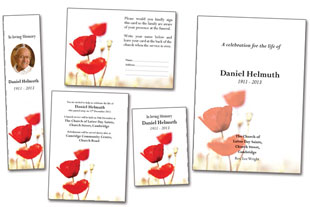 funeral stationery template poppy