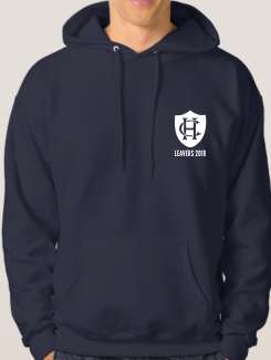 school leavers hoody front printed crest