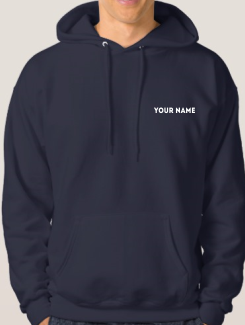 school leavers hoody front printed name