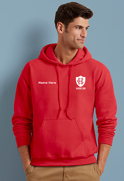 school leavers hoody front printed